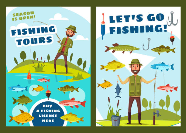 wędkarstwo i duże ryby połowu wycieczki - rybactwo stock illustrations