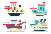 Fishing and cruise boats vector set.