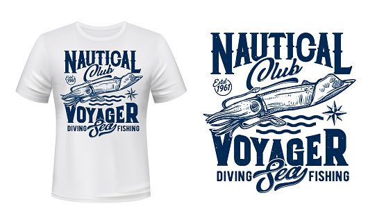 Fishing and diving club t-shirt print with squid