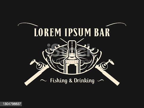 Fishing and Drinking Bar or club emblem concept with bottle and crossed rods