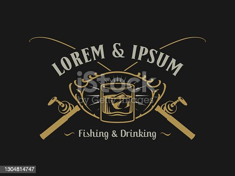 Fishing and Drinking Bar or Club Emblem concept with glass of iced drink and crossed rods