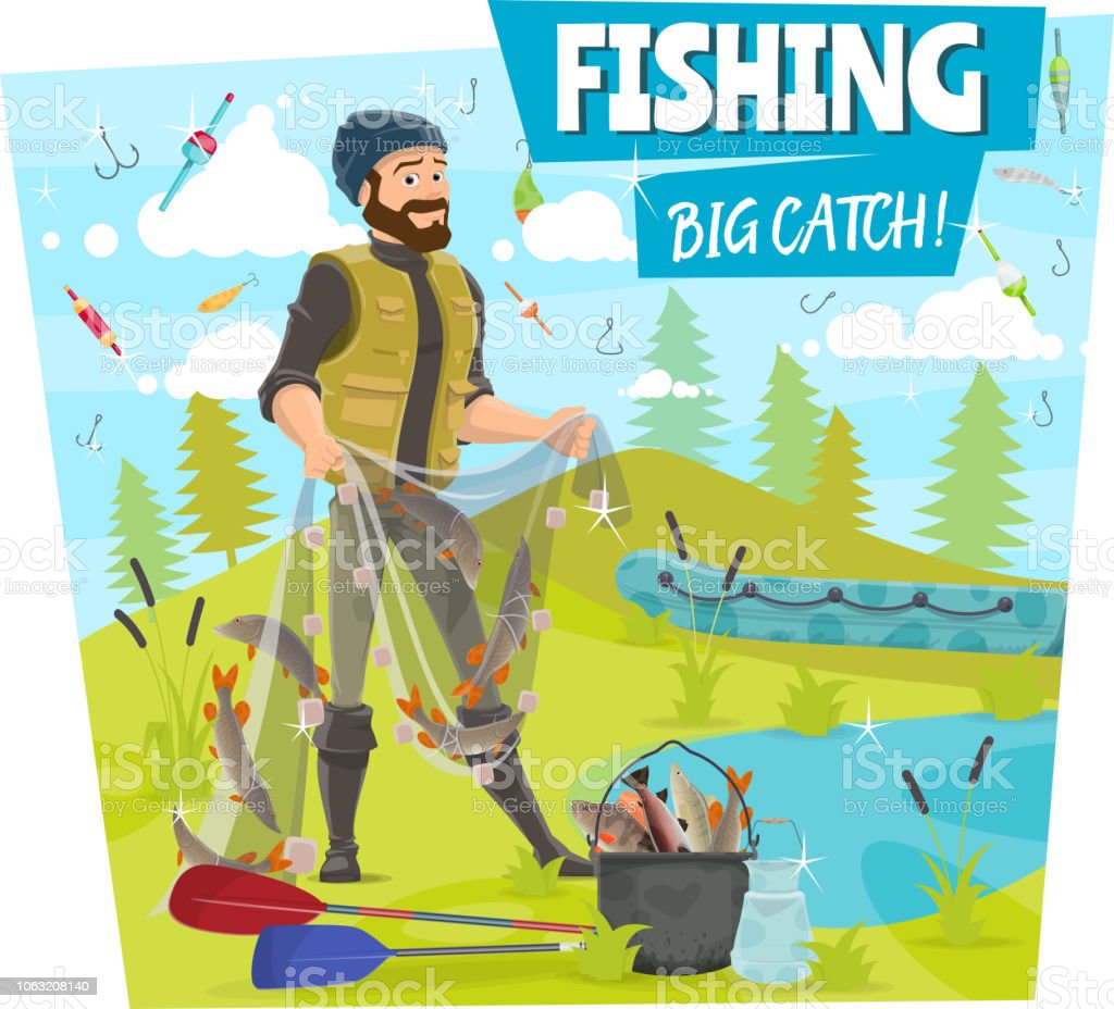 Fishing And Fisher Big Fish Catch Cartoon Poster Stock Vector Art