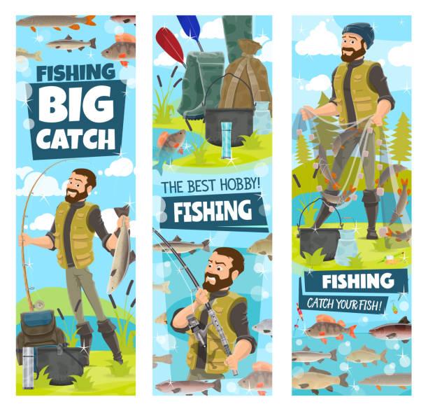 angeln und fisher mann fisch fangen im net banner - seehecht stock-grafiken, -clipart, -cartoons und -symbole