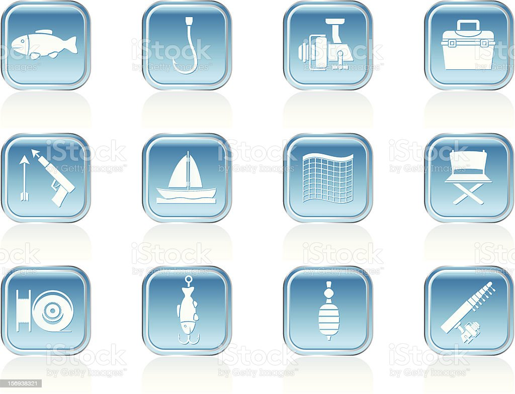 Fishing and holiday icons vector art illustration