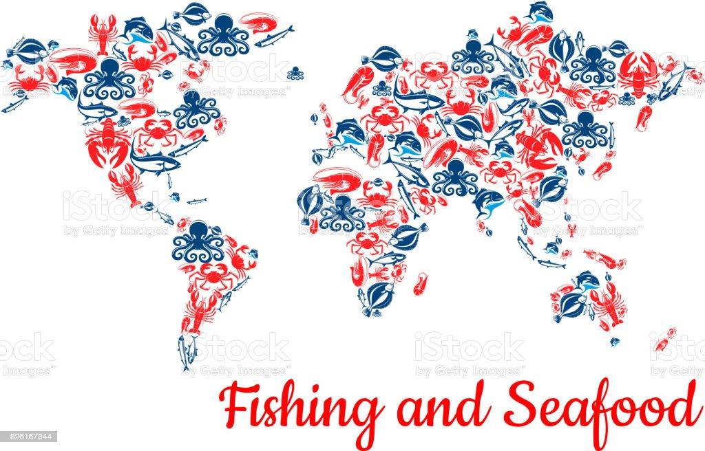 Fishing and seafood fish vector world map vector art illustration