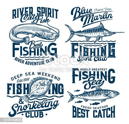 Fishing and snorkeling club marine t-shirt prints