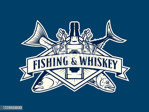Fishing and whiskey emblem with fish, whiskey bottle and glasses