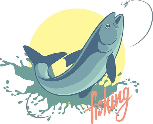 fishing asp - redfish stock illustrations, clip art, cartoons, & icons