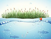 Fishing Background. High Resolution JPG,CS5 AI and Illustrator 0.8 EPS included. Each element is named,grouped and layered separately.