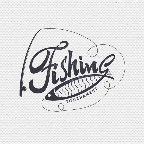 ilustraciones, imágenes clip art, dibujos animados e iconos de stock de credenciales señal diferencias de la pesca artesanal, preparada con caligrafía y letras - pesca