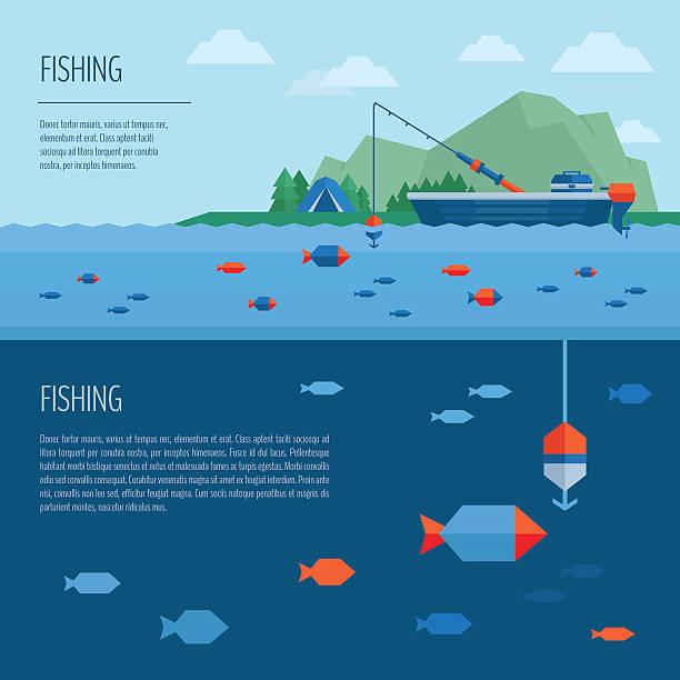 ilustrações de stock, clip art, desenhos animados e ícones de banner de pesca. conceito de pesca. barco de pesca no plano de estilo. - fishing boat