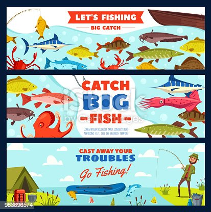 Fishing banner with fisherman, fish, rod and hook