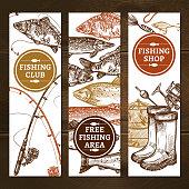 Fishing Sketch Concept. Fishing Vertical Banners. Fishing Vector Illustration. Fishing Hand Drawn Set. Fishing Design Symbols.