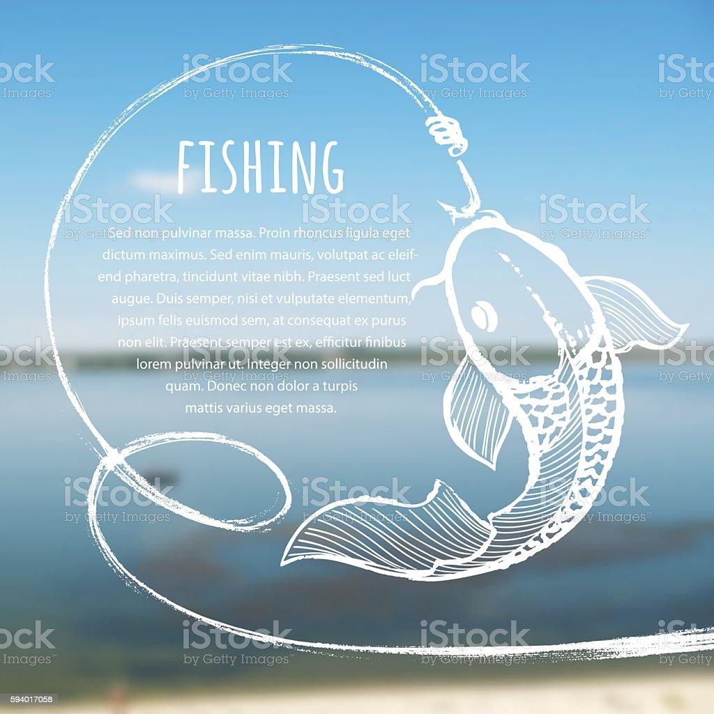 Fishing blurred photo background – Vektorgrafik