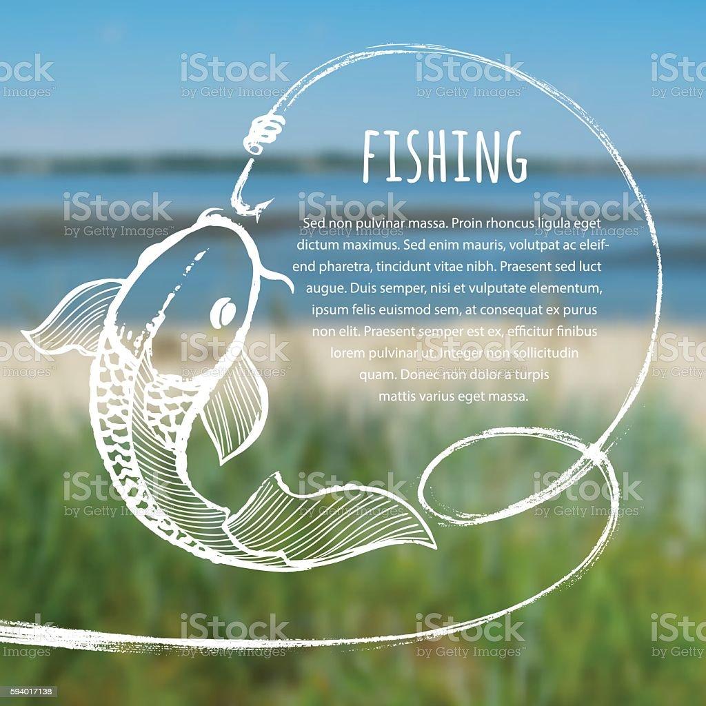 Fishing blurred photo background vector art illustration