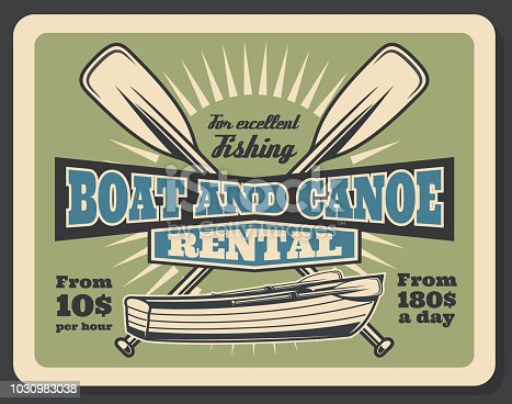Fishing equipment rental advertisement poster with fisher boat or canoe. Vector vintage design of wooden boat with paddles and price for fisherman sport trip or fish catch adventure