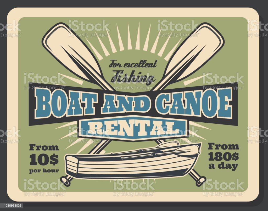 Pêche bateau et canoë location vector retro poster - Illustration vectorielle