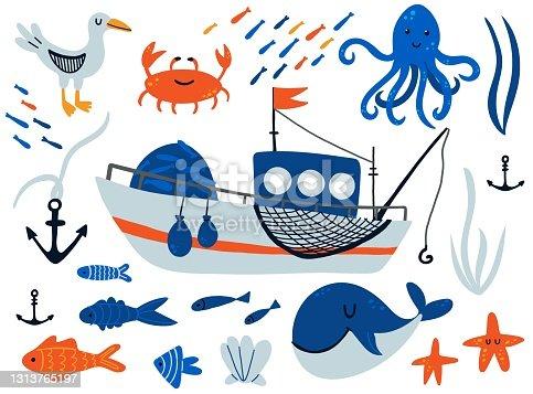 Fishing boat and underwater animals set. Cartoon hand drawn sail childish collection, water transport sailboat and fishes, octopus and krab kids design elements. Baby adventure and travel vector set