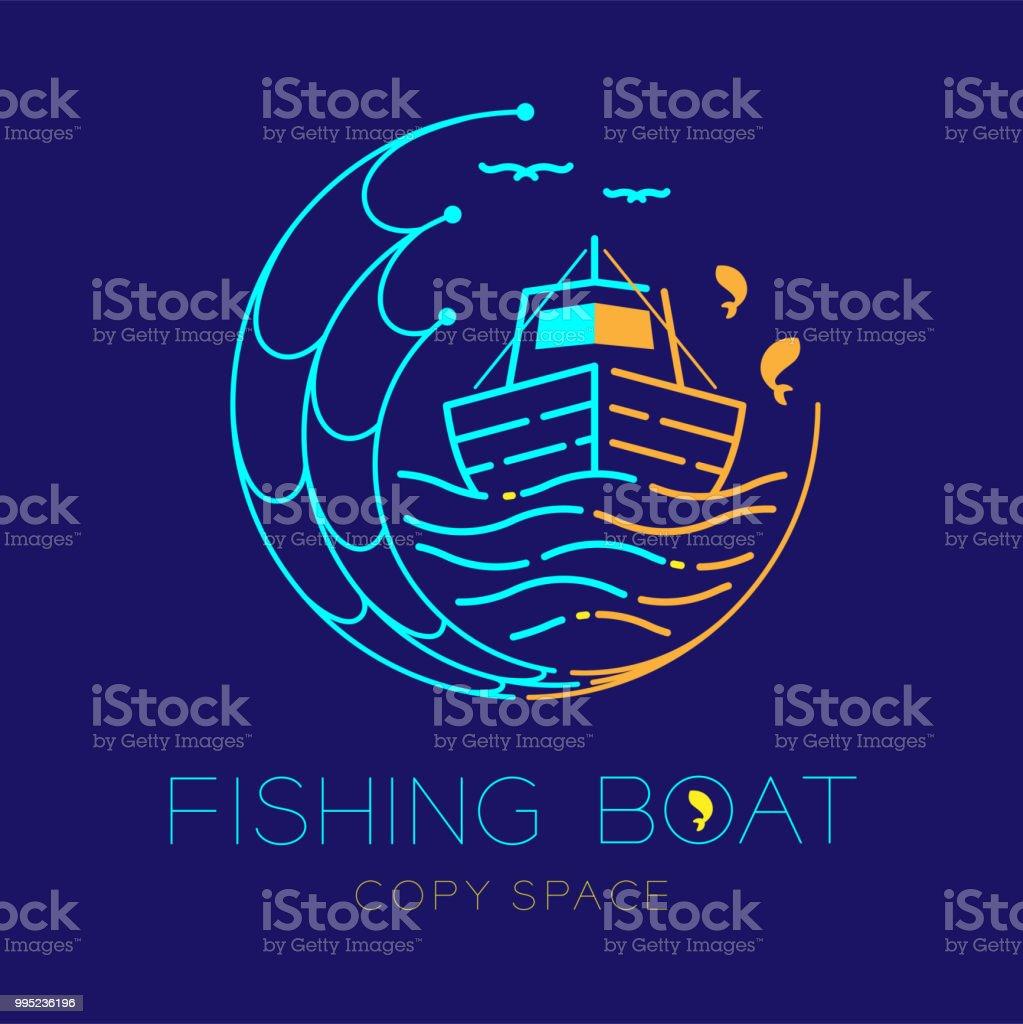 Ilustración de Barco De Pesca Peces Gaviotas Onda Y Pesca Círculo ...