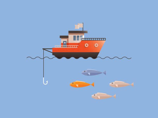 ilustrações de stock, clip art, desenhos animados e ícones de fishing boat fish - fishing boat