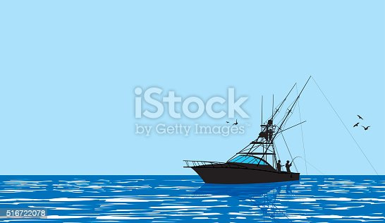 Graphic silhouette background illustration of a a fishing boat and fishermen. Check out my