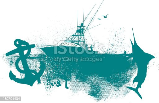 Fishing Boat Graphic - Anchor, Fish Background. Graphic silhouette illustration of a fishing boat and anchor. Check out my