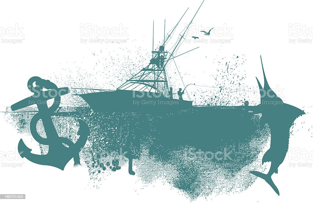 Fishing Boat Graphic - Anchor, Fish Background vector art illustration