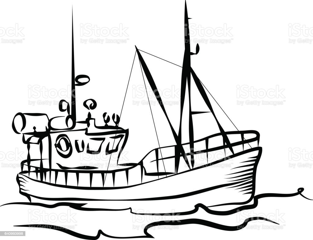 Fishing boat graphic stock vector art more images of art for How to draw a fishing boat