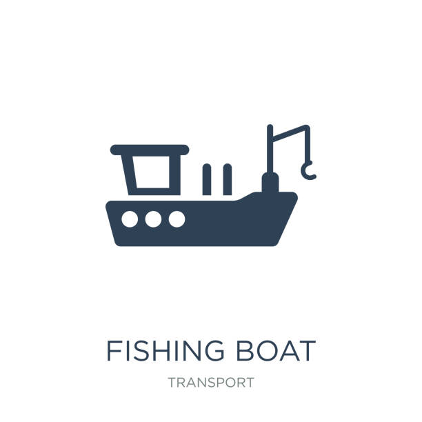 fishing boat icon vector on white background, fishing boat trendy filled icons from Transport collection, fishing boat vector illustration fishing boat icon vector on white background, fishing boat trendy filled icons from Transport collection, fishing boat vector illustration fishing boat stock illustrations