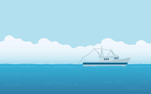 ilustrações de stock, clip art, desenhos animados e ícones de fishing boat in flat icon design with blue sky background - fishing boat