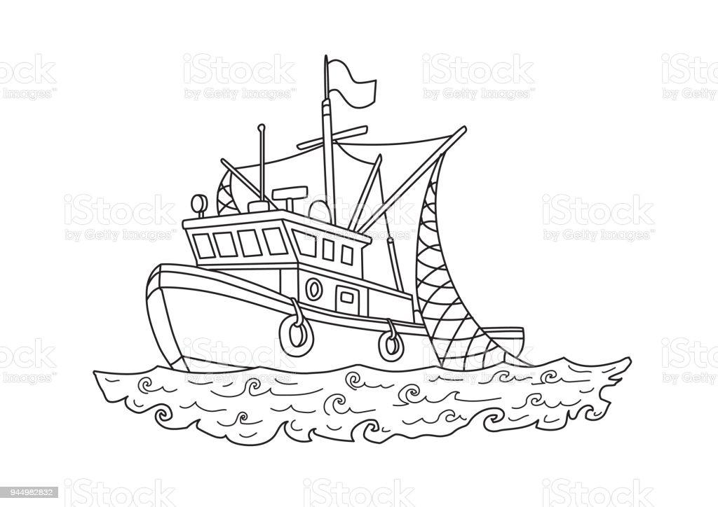 Angelbootfischerboot Im Meer Kontur Vektorillustration Für Malbuch ...