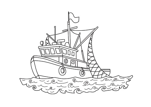 Fishing boat in the sea. Contour vector illustration for coloring book, isolated on white.