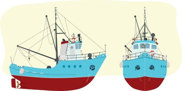 ilustrações de stock, clip art, desenhos animados e ícones de fishing boat in two angles - fishing boat