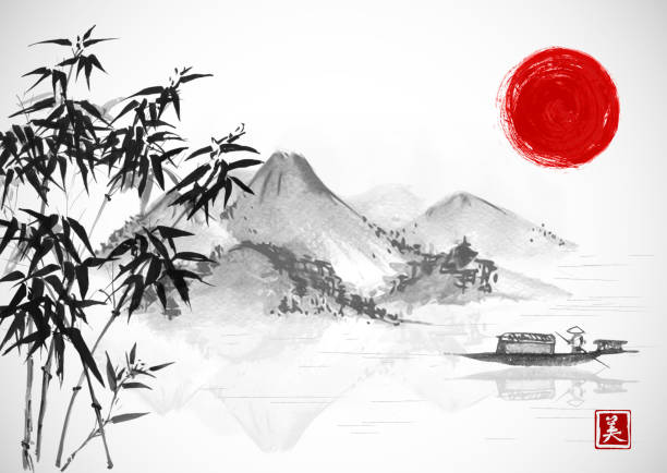 fishing boat, red sun and island with mountains. traditional oriental ink painting sumi-e, u-sin, go-hua. contains hieroglyph - beauty. - river paper stock illustrations, clip art, cartoons, & icons