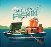 Fishing equipment in the boat. Vector illustration.