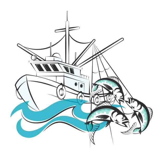 ilustrações de stock, clip art, desenhos animados e ícones de fishing boat with catch - fishing boat