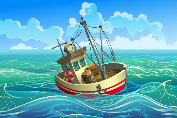 ilustrações de stock, clip art, desenhos animados e ícones de fishing boat with mast in the sea. - fishing boat