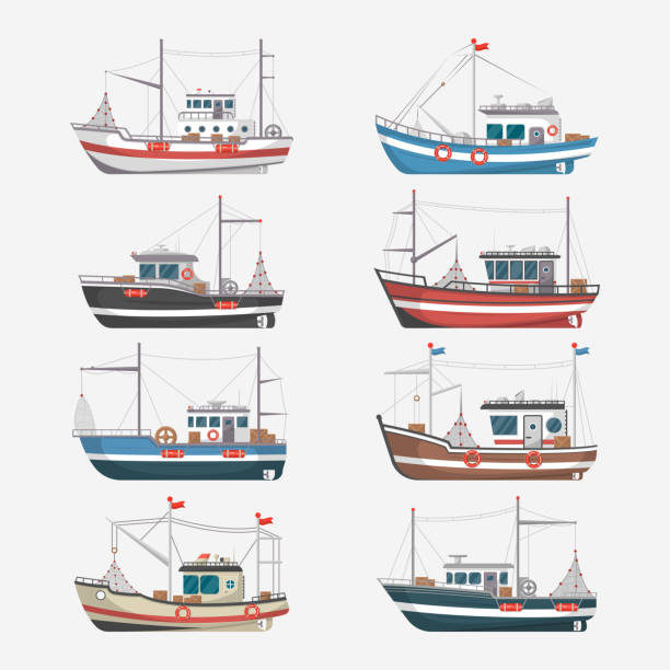 fishing boats side view on white background - rybactwo stock illustrations