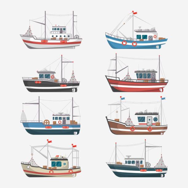 ilustrações de stock, clip art, desenhos animados e ícones de fishing boats side view on white background - fishing boat