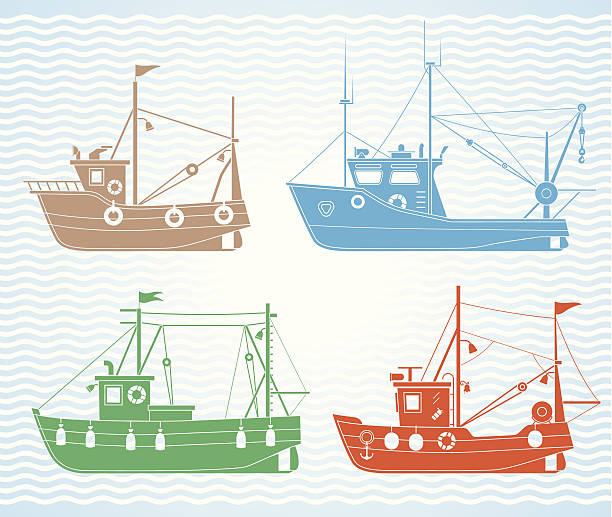 Fishing boats Set of different types of fishing boats fishing boat stock illustrations