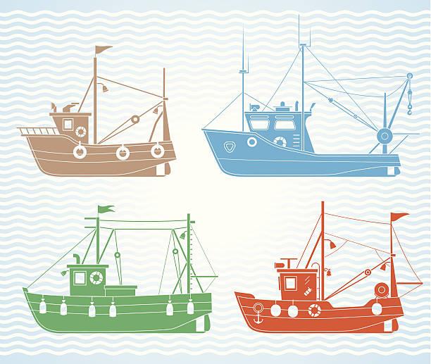 ilustrações de stock, clip art, desenhos animados e ícones de barcos de pesca - fishing boat