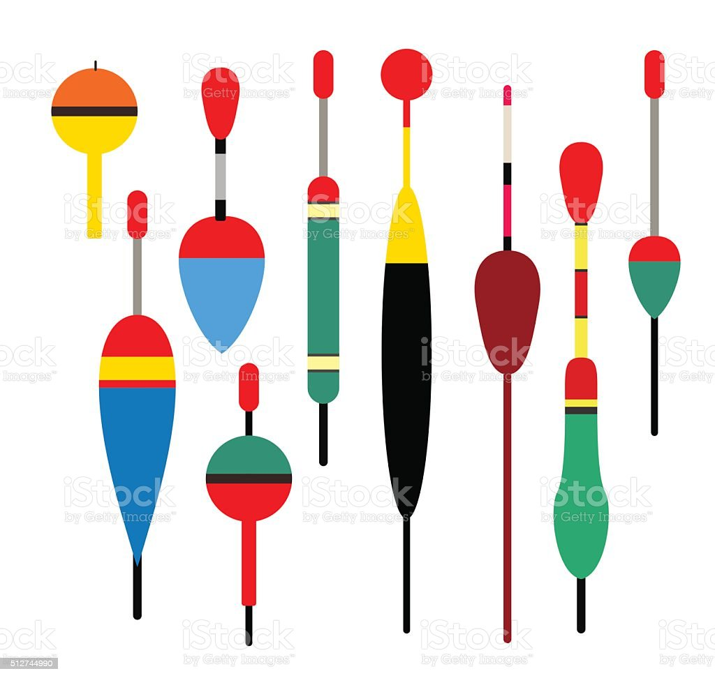 Fishing bobber vector set. Fishing tools illustration vector art illustration
