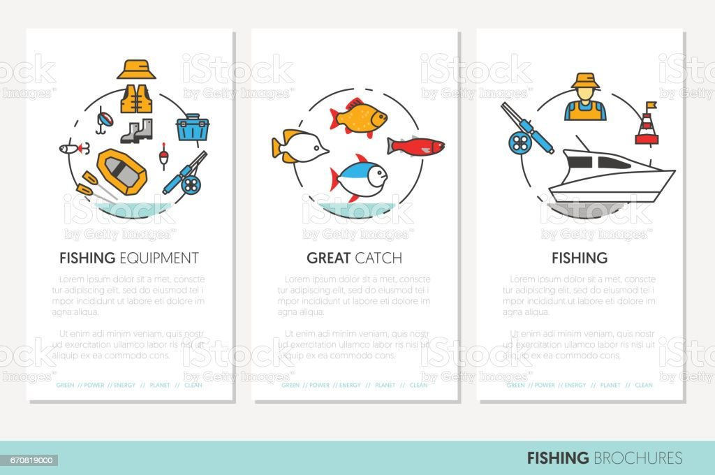 Fishing Business Brochure Template Linear vector art illustration