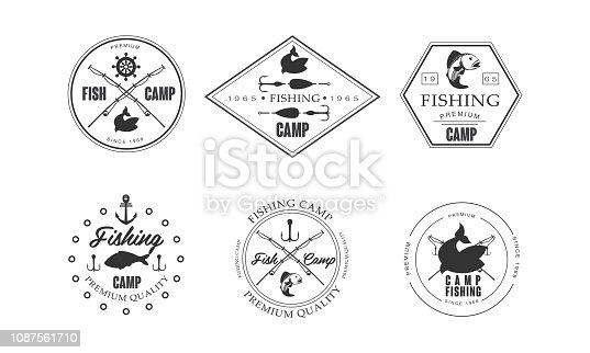 Fishing camp logo, wildlife, travel, adventure retro labels vector Illustration isolated on a white background.