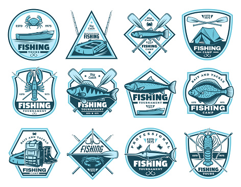 Fishing camp, tournament vector icons