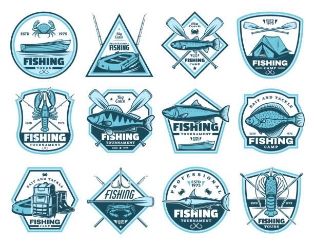 obóz wędkarski, ikony wektorów turniejowych - rybactwo stock illustrations