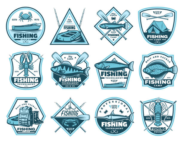 fishing camp, tournament vector icons - fishing stock illustrations