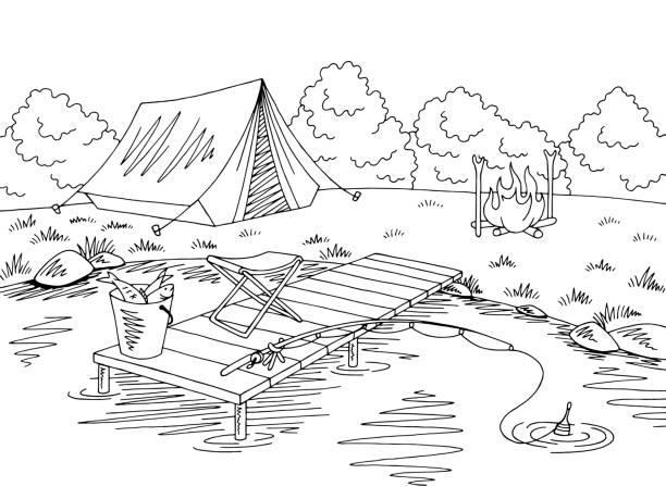 낚시 캠핑 그래픽 블랙 화이트 풍경 스케치 그림 벡터 - 색칠하기 stock illustrations