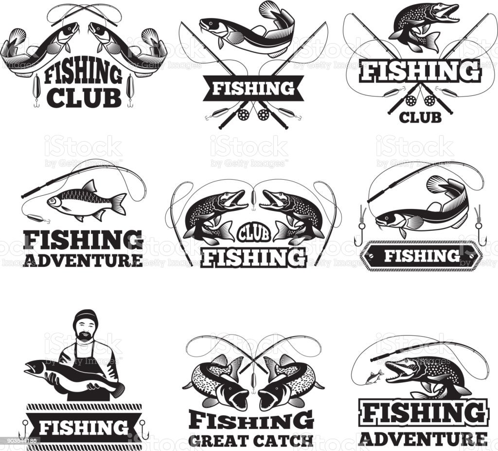 Fishing club badges or labels design template with place for your text vector art illustration