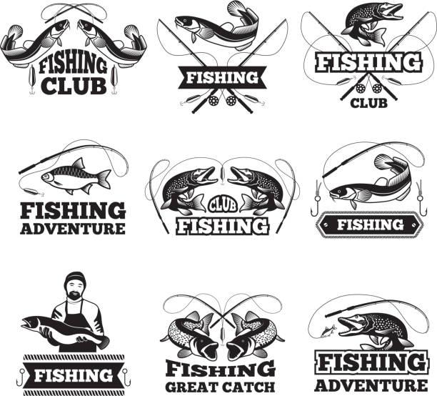 ilustraciones, imágenes clip art, dibujos animados e iconos de stock de insignias club de pesca o etiquetas diseño de plantilla con lugar para el texto - pesca